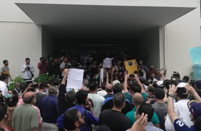 Residents of DHA and Clifton protest outside CBC offices in DHA
