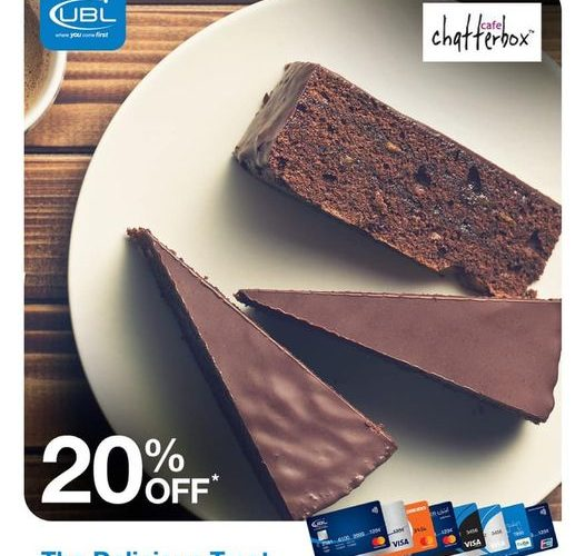 A deliciously satisfying experience! Use your UBL Card to enjoy an amazing discount of 20% at Café Chatterbox and Chatterbox Deli (Karachi).